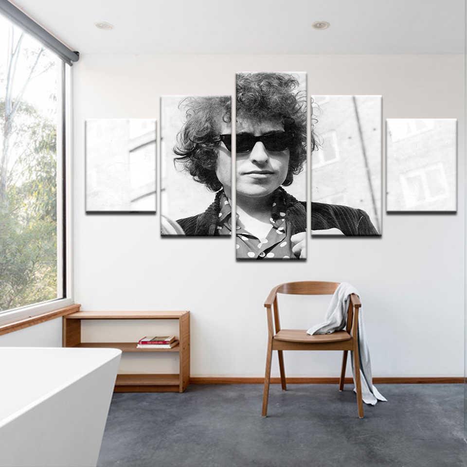 Màu đen Và Trắng Cổ Điển HD In Vải Sơn Ca Sĩ Bob Dylan Áp Phích 5 piece Modular Dầu Ảnh Trang Trí Nội Thất Tường tác phẩm nghệ thuật