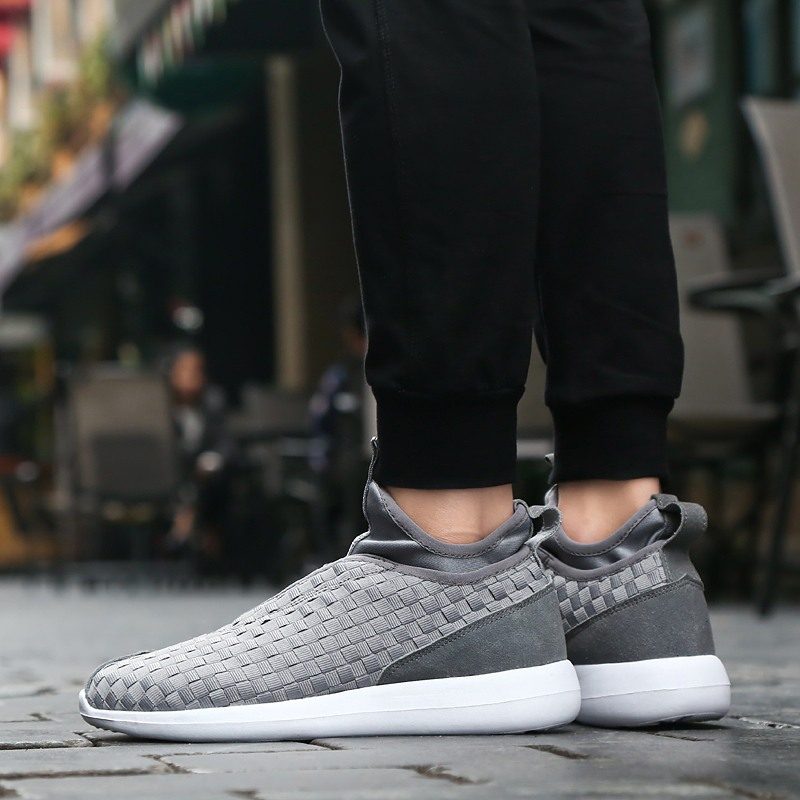 ФОТО 2017 new fashion summer mens casual shoes handmade weave canvas flat shoes breathable slip-on zapatos size 39-44 LA213M