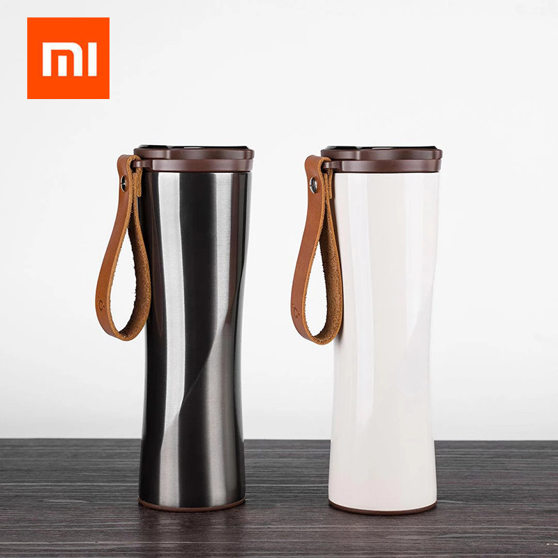 Xiaomi Kiss Kiss Fish Slim Smart Cup 430ml OLED Temperature Screen 310g Protable Stainless Steel Hot Water Cup with Leather Rope updated xiaomi kiss kiss fish 525ml function cook egg tea nutrition cup with oled temperature screen stainless steel vacuum cup
