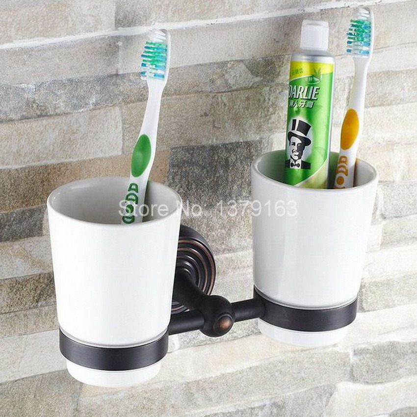 Black Oil Rubbed Antique Bronze Brass Bathroom Bath Tumbler Holder with Double Ceramics cup Wall Mounted aba118 leyden new brass oil rubbed bronze double toothbrush tumbler holder wall mounted toothbrush holder with cup bathroom accessories