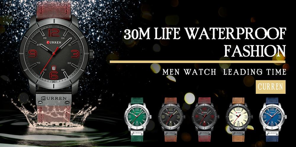 HTB1kKs5aLfsK1RjSszbq6AqBXXaS Men Watch 2019 CURREN Men's Quartz Wristwatches Male Clock Top Brand Luxury Reloj Hombres Leather Wrist Watches with Calendar