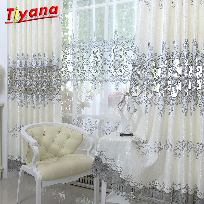 Gray Curtains Drapes Embroidery Window-Treatment Livingroom Sheer Bedroom Luxury