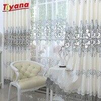Cortinas en la habitación de lujo cortinas de gris con bordado para el dormitorio de la sala de tratamiento de ventana cortinas velos de tul WP147 * WS