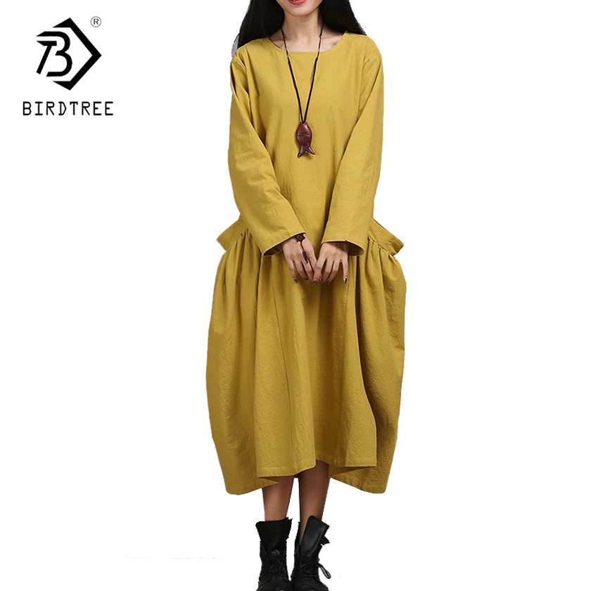 2017 Autumn New Arrival Women Dresses Loose Peplum Design O-Neck Mid-calf Length Dresses Long Sleeve Office Lady D7D347C