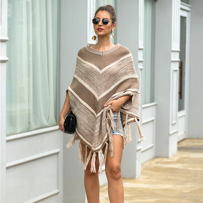 HEE GRAND Women Batwing Sleeve Pullovers 2019 Autumn New Tassels Sweaters Fashion Geometric Knitted Outwear O-neck Cloak WZL1512