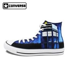 Для женщин Для мужчин ручной росписью обувь Дизайн Galaxy Полиция Box Converse Chuck Taylor холст кроссовки с высоким берцем подарки Подарки