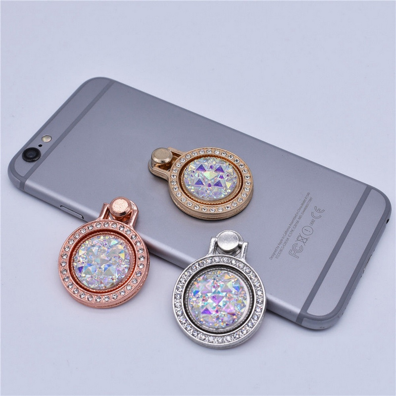 1PC Bling Gemstone Crystal Finger Ring Phone Holder 360