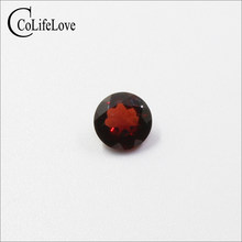 7 mm round cut garnet loose gemstone for silver jewelry shop 100% natural garnet gemstone wholesale price natural gemstones(China)