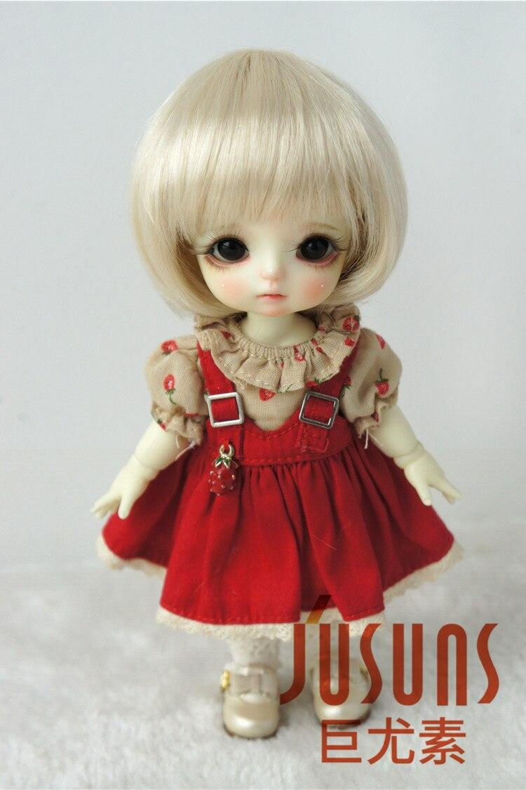 JD025 1/8 1/6 модный короткий парик BJD с челкой для размера 5-6 дюймов 6-7 дюймов кукла мягкий синтетический мохер кукла аксессуары - Цвет: 5-6inch Blond SM202