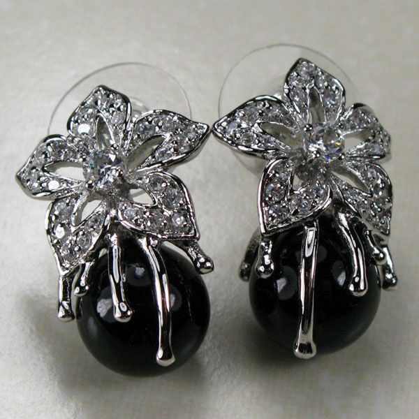 PEARL HITAM 925 STARLING SILVER EARRINGS TE131