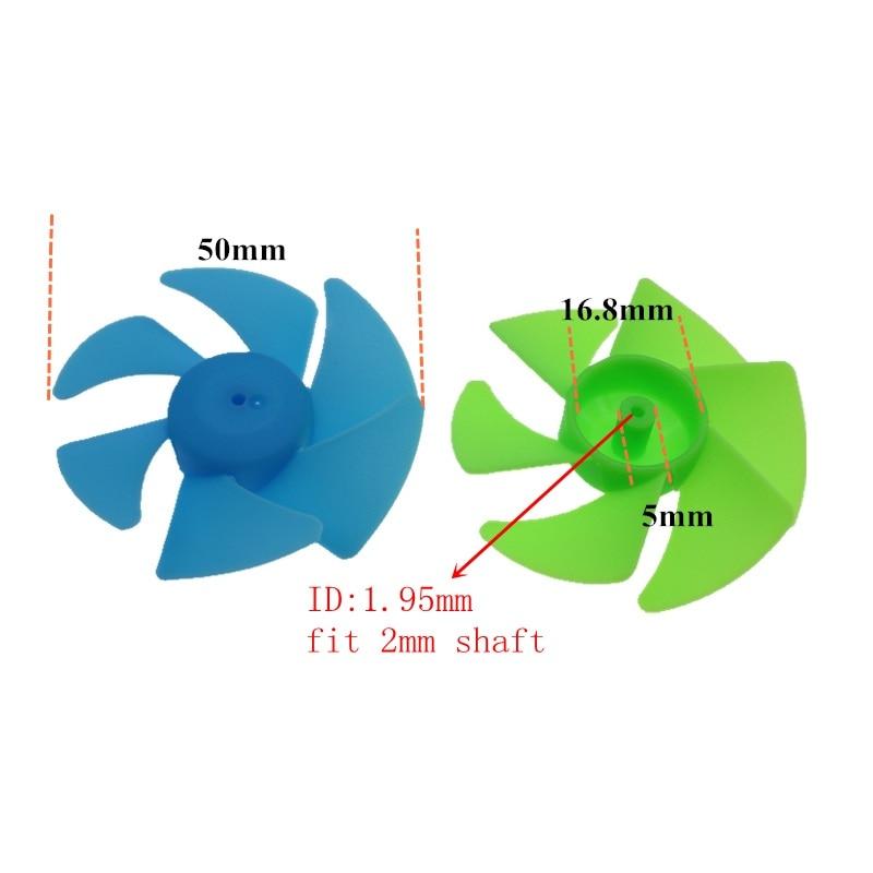 2 шт. 50 мм Турбовентилятор шесть лопастей Пропеллер для модели делая fit 2 мм ось вала