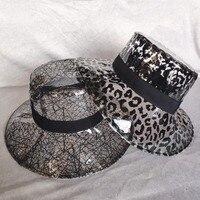 b29b9f652da7d4 Women S Casual PVC Plastic Bucket Hats Girls Solid Black Leopard Nest Print  Large Brim Fisherman