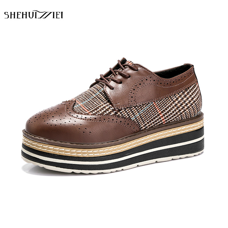 SHEHUIMEI Women Platform Oxfords Brogue Flats Shoes Leather Lace Up Round Toe Brand Female Footwear Shoes for Women Creepers qmn women snake effect leather brogue shoes women round toe platform oxfords shoes woman genuine leather casual platform flats