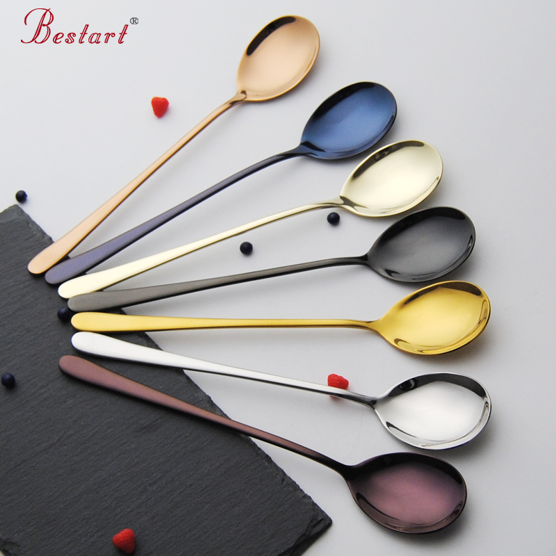 7pcs 8'' Stainless Steel Long Handle Coffee Tea Spoon Colorful Ice Cream Dessert Spoons Set Mixing Stiring Scoop Kitchen Tools