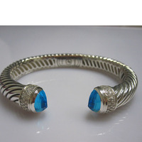 Sterling Silver Jewelry 10mm Bracelet with Hematite,Fine Jewelry Black onyx Citrine Prasiolite Blue Topaz Bracelet