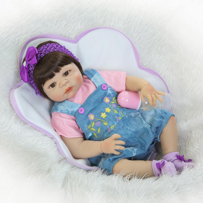 Kawaii Reborn Babies 22inch Full Body Silicone Reborn Doll Leksaker 55cm Nyfödd Lifelike Doll Reborn Girl For Kids