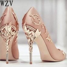 Size34-41 Elegant Silk Women Pumps High Heels Rhinestone Flower Wedding Pumps Brand Design Pointed Toe party High Heels Shoes