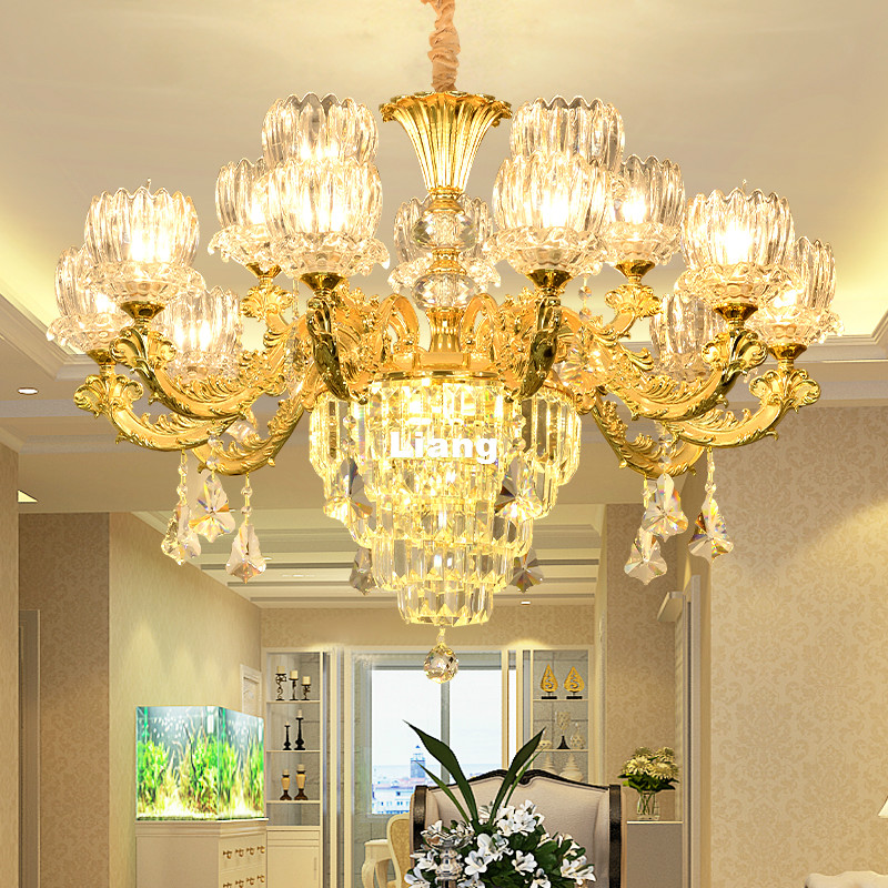 Free Shipping Modern Luxury Lobby Crystal Chandelier Lighting Golden Classical Crystal Lamp Stair Zinc Alloy Crystal Chandelier free shipping modern 100 240v romantic brass chandelier copper chandelier pendant k9 golden crystal penadnt lamp 100