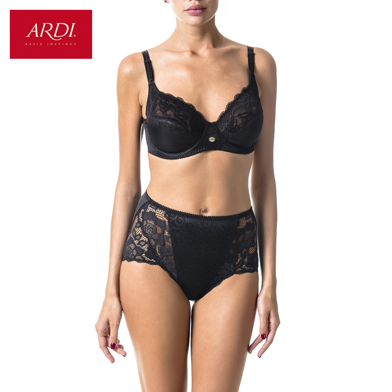 Women's   Bra   &   Brief     Set   BH Black Soft Cup Large Size Big Breast   Bras   and Panty   Sets   for Women Plus 80 85 90 95 100 ARDI R1710