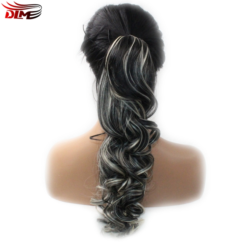 DLME Mix T1B/613 Body Wave Wig with One Piece Claw Ponytail Clip in Hair Extensions Hairpiece Blonde Black Pony Tail Synthetic
