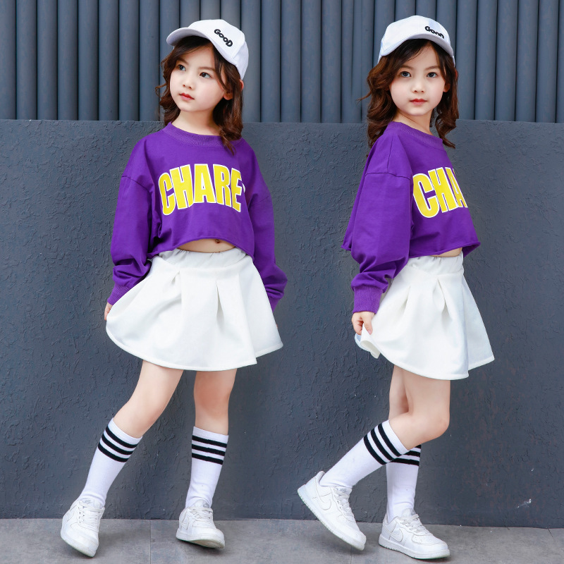 Summer season Youngsters's Units Women Garments Hip-Pop Fashion Cotton Style Costume Dance Streetwear Youngsters Clothes Skirt For Children