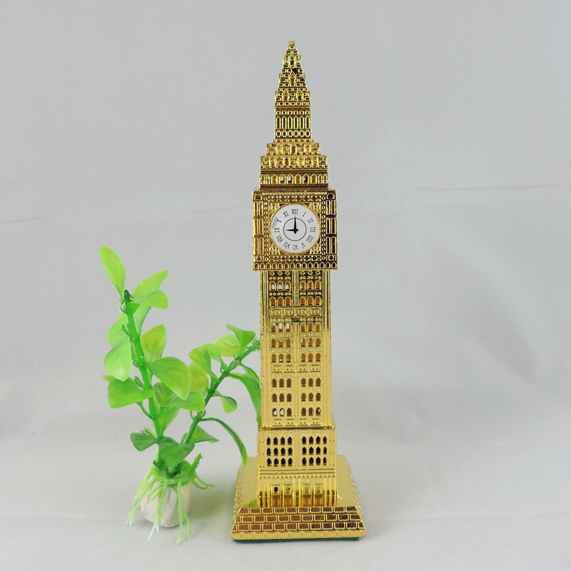 Vintage Gold Home Decorate Paris Eiffel Tower Figurine Statue18.5cm Old Green Zinc Alloy Big pendulum member Simple Style China