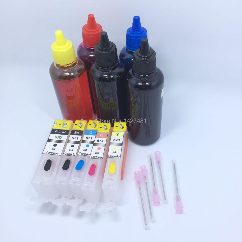 5*Dye ink + Refillable inkjet cartridge PGI-570 CLI-571 For Canon PIXMA MG5750 MG5751 MG5752 MG5753 MG6850 MG6851 MG6852 MG6853  rce5846 refillable ink inkjet cartridge for epson t5846 picturemate pm200 pm240 pm260 pm280 pm290 pm300 p 3000