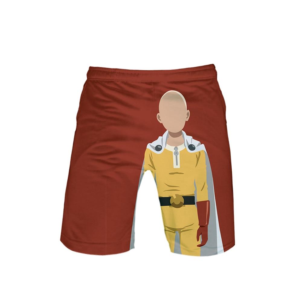Red One Punch Man Back Shorts Saitama no face