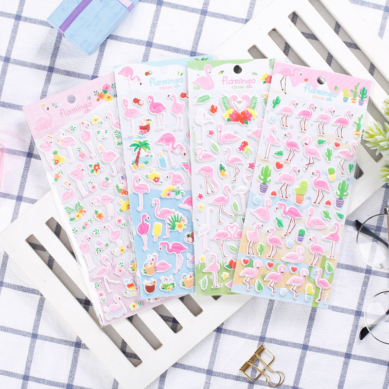 1 pcs/pack Stationery Stickers Flamingo 3D Foam Diary Planner Decorative Mobile Stickers Scrapbooking DIY Craft Stickers
