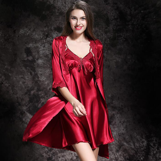Womens Silk Satin Nightgown Sleepwear Female Silk Robe Twinset Lounge Set Summer Lace Quality Sexy Nightdress Sling Sleepwear