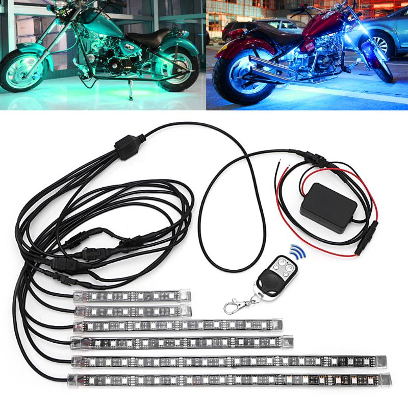 6 Pcs Motorcycle decoration 5050 SMD Strip Flexible RGB Flashing Light LED With Remote Control For Motorcycle Deco light