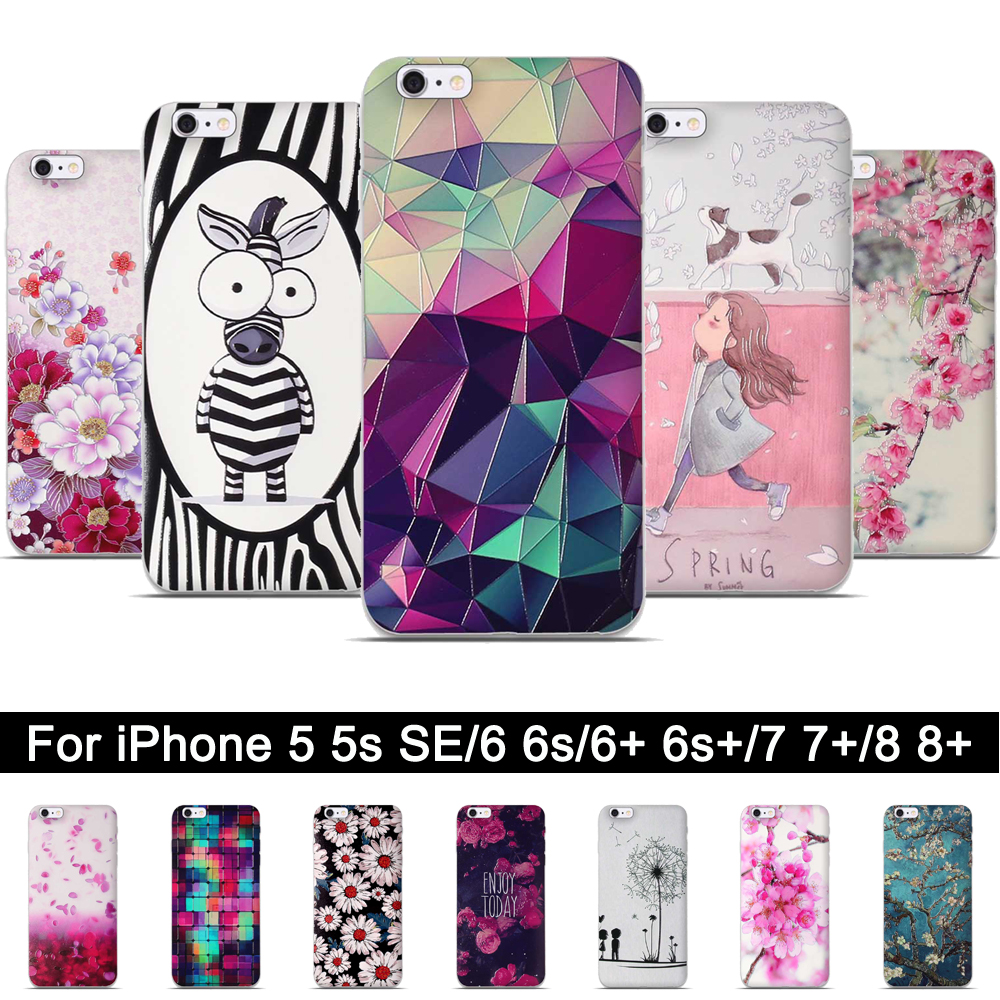 Soft TPU Cover For <font><b>iPhone</b></font> 6 6s 6Plus 6s Plus Silicone Back Case For <font><b>iPhone</b></font> 5 <font><b>5s</b></font> SE <font><b>Fundas</b></font> For <font><b>iPhone</b></font> 7 8 7Plus 8Plus Shells bags image