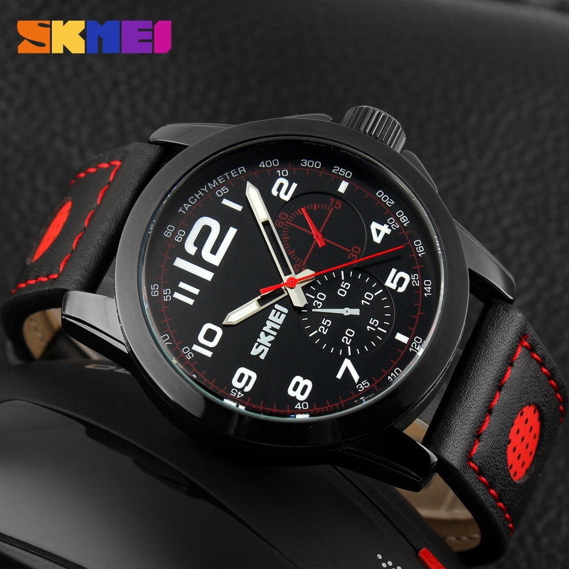 SKMEI Men's Quartz Watch Men Fashion Casual Watches Relogio Masculino Montre Homme Genuine Leather Waterproof Mens Wristwatches цена
