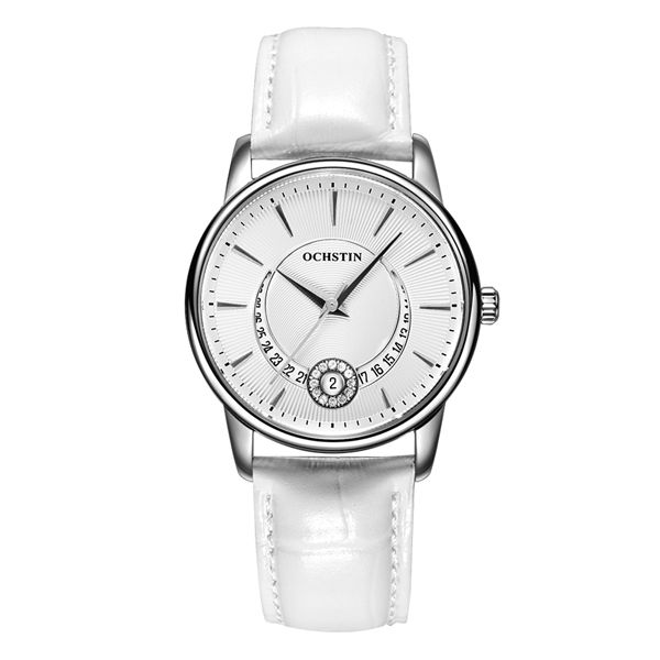 OCHSTIN Fashion Women Watches Ladies Casual Leather Strap Quartz Wrist Watch Female Clock Montre Femme Women Watches LQ060 White
