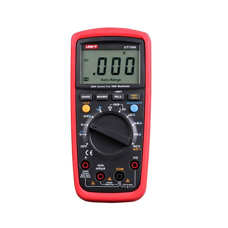 UNI-T UT139A True RMS Digital Multimeter Auto/manual Range AC/DC Amp/Volts Ohm Tester with Data Hold, NCV Test uni t ut136a ut136b ut136c ut136d auto range ac dc frequency resistance tester digital multimeter