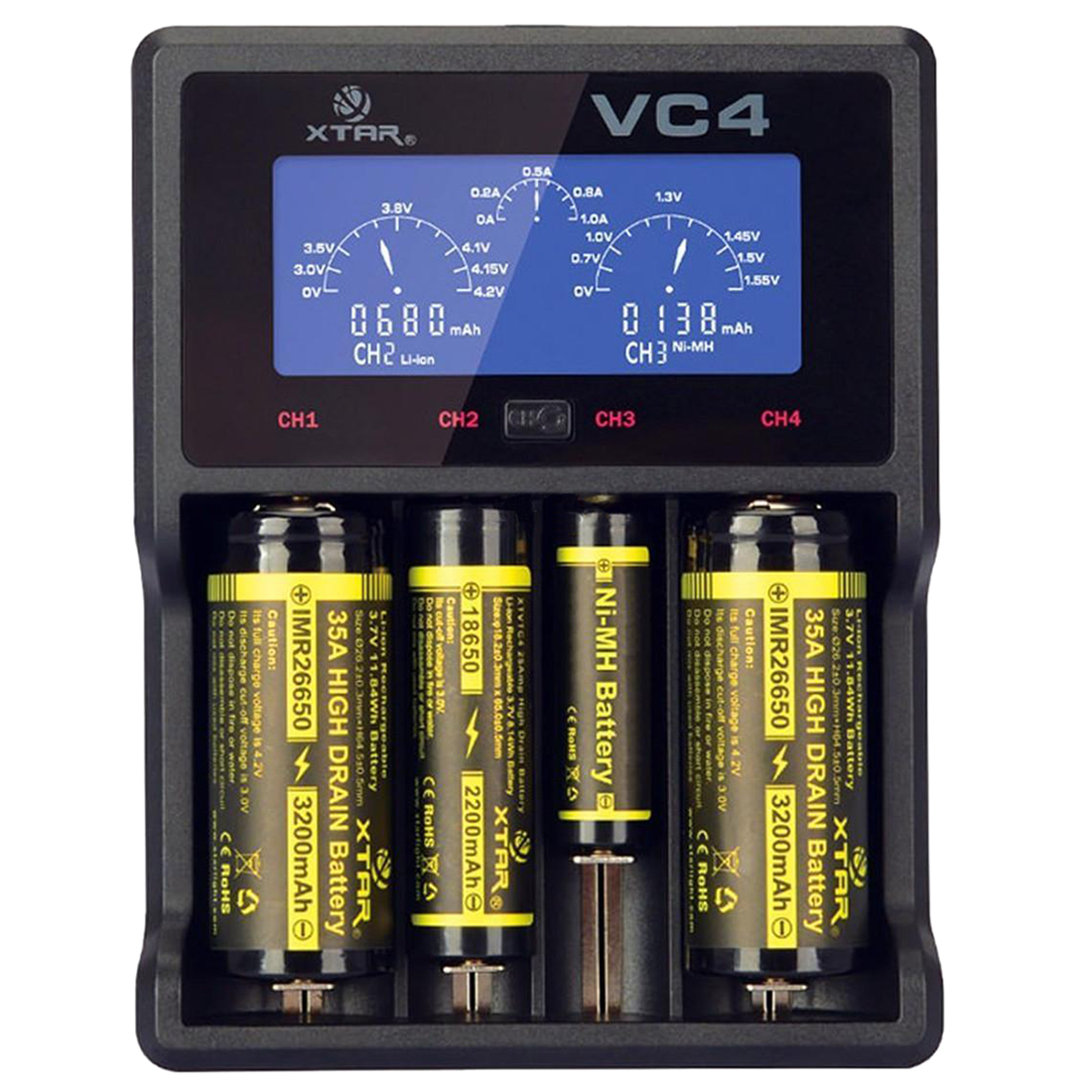 XTAR VC4 Universal LCD Screen USB Battery Charger 18650 26650 32650 14500 AA AAA LD489 Best Price Top Quality xtar vc4 four slot usb lithium ion battery charger