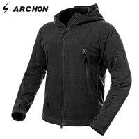 S. ARCHON Kış Kalınlaşmak Yumuşak Kabuk Askeri Polar Ceketler Erkekler Kapşonlu Windproof Taktik Kabanlar Coat Sıcak Ordu Ceket Elbise