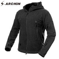 S ARCHON Winter Thicken Soft Shell Military Fleece Jackets Men Hooded Windproof Tactical Outerwear Coat Warm
