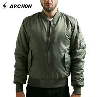 S Archon MA1 Army Green Tactical Military Varsity Flight For Men Bomber Thick Winter Jackets