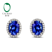 14k White Gold 3.12ct  Violetish Blue Tanzanite & Natural Diamond Engagement Earrings Stud