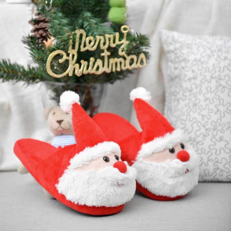 Christmas Kids Cartoon Winter Slippers Children Fur Plush Home Family Indoor Slipper Girls Boys Cotton Warm Household Baby Shoes