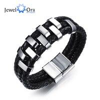 Thép không Gỉ Charm Bracelets & Bangles Thời Trang Nam Chính Hãng Da Bò Rope Chain Bracelet Phong Cách Cổ Điển (JewelOra BA101968)