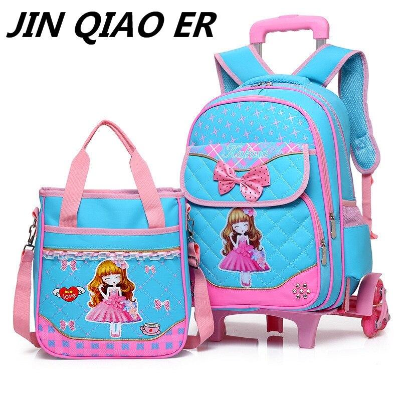 패션 2 pcs 세트 학교 배낭 6 바퀴 어린이 학교 가방 여자 핸드백 방수 귀여운 아이 여행 트롤리 bookbag-에서학교가방부터 수화물 & 가방 의  그룹 1