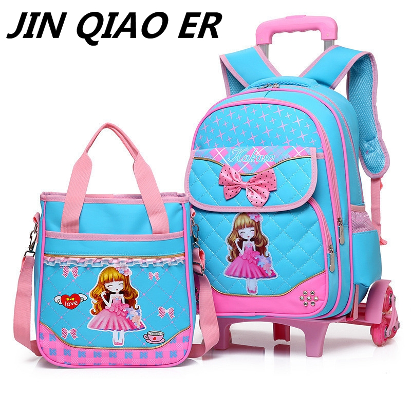 Juego de mochilas escolares de 2 piezas, 6 ruedas, mochilas escolares para niños, bolsos escolares para niñas, bolso impermeable, bolso de mano para niños-in Carteras escolares from Maletas y bolsas    1