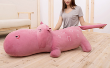 big new lovely plush cartoon hippo toy dark pink hippo doll gift about 140cm