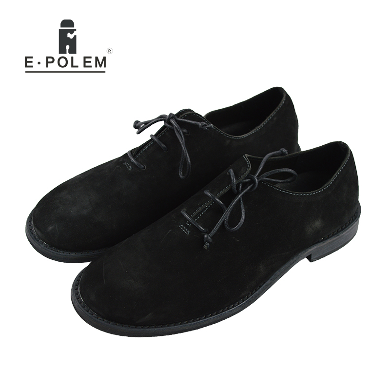 2017 New Arrival Fashion Genuine Leather Men Shoes Spring Autumn Lace Up Flat Shoes Black Low