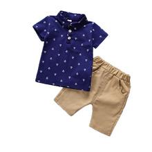 Letnie zestawy ubranek dla niemowląt BibiCola zestawy ubrań dla chłopców wydrukowane bluzki + spodenki spodnie odzież dla niemowląt zestaw dla chłopców dla dzieci tanie tanio Na co dzień CN (pochodzenie) Skręcić w dół kołnierz Swetry summer children s suit spandex COTTON Chłopcy Krótki