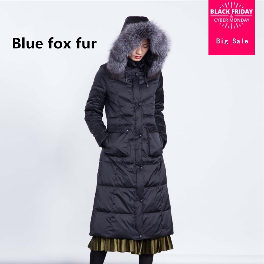 2019 fashion brand Winter good quality 90% real duck   down     coat   female fox fur collar hooded thicker long warm   down     coats   wq126