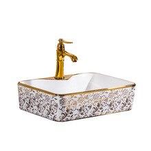 Белая Золотая керамическая раковина художественная умывальник овальная раковина с переливом винтажная раковина Европейская керамическая золотая фарфоровая раковина