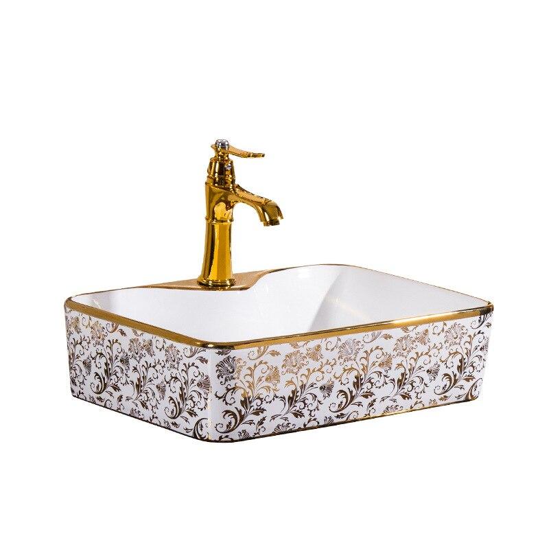 Lavabo en céramique or blanc bassin d'art évier ovale avec robinet de trop-plein évier vintage évier en céramique or porcelaine Europe